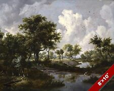 WATER, WOODS & CLOUDS SCENIC LANDSCAPE DUTCH ART PAINTING REAL CANVAS PRINT