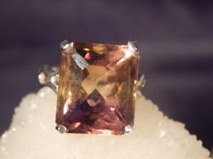 14.32 ct. Emerald Cut Ametrine Sterling Silver Ring