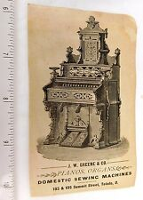 Engraved Parlor Organ, J.W. Greene & Co. Summit St. Toledo, Ohio Trade Card  F49