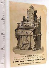 Engraved Parlor Organ, J.W. Greene & Co. Summit St. Toledo, Ohio Trade Card  F49