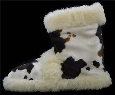 Hüttenschuhe Hausschuhe  Lammfell 100% Schafwolle Kuh Fell Pantoffeln Gr.35-48