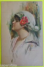 Italian Art Deco Artist Signed G. C. Glamour Girl Head Dress Antique Postcard