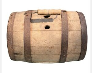 Antique Primitive Wooden Barrel Flask Keg Canteen 19th Century Iron Banded