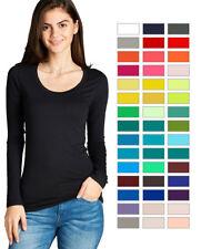Women's Premium Basic Long Sleeve Round Crew Neck T Shirt Top Warm Soft