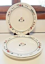 Set of 4 Pfaltzgraff DINNER PLATES snowman SNOW VILLAGE 11""
