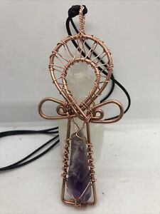 Bahia Amethyst Copper  Crystal Anhk Wire wrapped Handmade Pendant 5x 2.5 inches