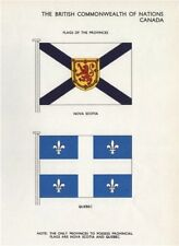 CANADA FLAGS. Flags of the Provinces. Nova Scotia. Quebec 1958 old print