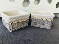 2 x Grey Wicker Storage Baskets Gift Hamper Key Storage Cream Lining Bathroom
