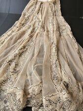 Exquisite Antique Victorian French Net Lace & Alencon Lace Skirt.Ecru.Small