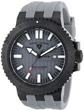 Swiss Legend Men's Black Steel Case Grey Rubber Strap Quartz Watch 10126-BB-01