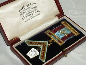 ANTIQUE 1925 SILVER MASONIC MARK PAST MASTER JEWEL PANMURE LODGE No 139