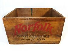 EARLY 20TH C VINT WOOD BOX CRATE NORFOLK PAINTS-VARNISHES ATLANTIC, (QUINCY) MA