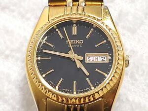 Vintage Seiko Day Date Presidential Watch Gold Tone Black Dial Luminous Women's