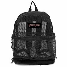Travel Sport Mesh Backpack BLACK Heavy Duty School Gym Bag light weight 615BK
