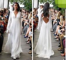 Chiffon V Neck A-line Long Sleeve Wedding Dresses