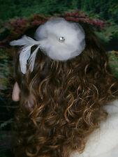 KLEINFELD WEDDING FASCINATOR HEAD HAIR PIECE FLOWER SWAROVSKI CRYSTAL FEATHERS