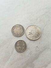 More details for silver coins 1893 sixpence 1918 threppence and 1916 french franc