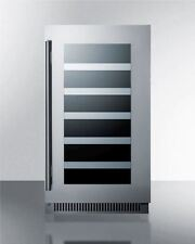 "18"" Built-In Wine Cellar w/Seamless Stainless Steel Trimmed Glass Door"