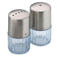 SALT AND PEPPER SHAKER POT CRUET CONDIMENT SET STEEL TOP CLEAR PLASTIC BASE 1502