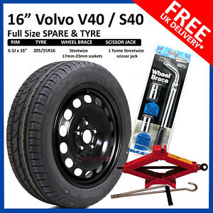 """Volvo S40 / V40 2004-2020 16"""" FULL SIZE STEEL SPARE WHEEL AND TYRE+ TOOL KIT"""