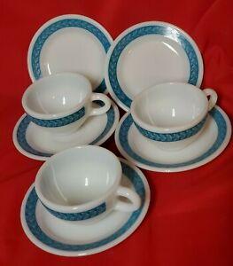 3 Vintage Pyrex Turquoise Laurel Leaf Tableware CUPS & SAUCERS