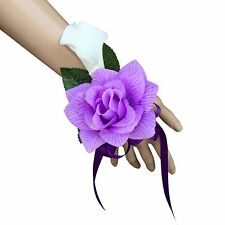 Wrist Corsage - Lavender Rose and Calla Lily with Purple Ribbon - Artificial