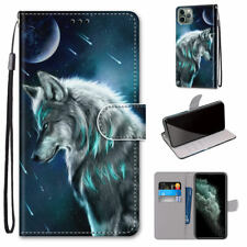 Pensive Wolf Cool Animal Man 3D Flip Wallet Bracket Case Cover For Various Phone