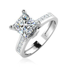 Certified 2.30Ct White Princess Cut Wedding Engagement Ring in 14Kt White Gold.