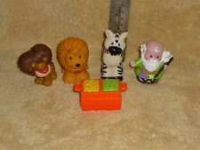 Fisher Price Little People Zoo Ark Lot: Lions, Zebra, Noah & Food Crate