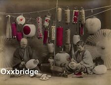 Japan 1880 Large Photo Saki Rice Wine Seller/Lantern Design Oil Paper Umbrella