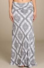 Printed Full Length Skirt with Fold Over Waist Gray & White Size Small