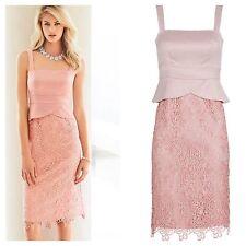 Kaleidoscope Size 14 Pink Satin Lace Peplum DRESS Occasion Wedding Races £105