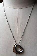 Vintage 90's Heart Pendant Necklace/Retro/Kitsch/Gold Tone Chain/Tri Colour