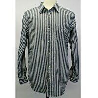 Banana Republic Slim Fit Black Stripe Long Sleeve Button Cotton Shirt Sz M EUC