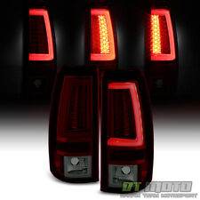 1999-2002 Chevy Silverado 99-06 GMC Sierra Red Smoke LED Tube Tail Lights Lamps
