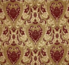 Upholstery/Drapery Chenille Damask Drapery Fabric Sarah 101 Crimson By The Yard