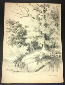 Fine Large Original Graphite Drawing by J. W. Embury  Initialed JWE, dated 1879
