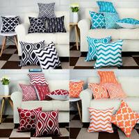 Set Of 6 Home Decorative Pillowcase Cotton Linen Sofa Cushion Throw Pillow Cover