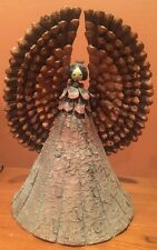 "Amazing Handmade Pinecone Angel Vintage Tree Bark Topper Figure 17"" Ooak"