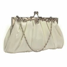Ivory Satin Crystal Clutch Eveing Bag Handbag Purse Bridal Prom Party New