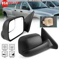 Pair Power Heated Tow Mirrors Flip-Up for 2002-08 Dodge RAM 1500 03-09 2500 3500