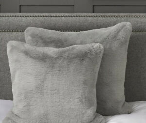 The White Company Super Soft Faux Fur Grey Cushion Cover X 2 (new ) Rrp £80