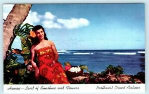 NORTHWEST ORIENT AIRLINES Advertising HAWAII Sunshine and Flowers 1950s Postcard