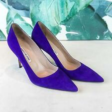 $595 MANOLO BLAHNIK BB Purple Suede Pointed Stiletto Heels Women's SZ 40 SALE!