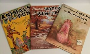 Lot of 3 Walter Foster How to Paint Water & Weather, China, How to Draw Animals