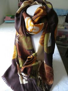 New large smooth scarf with  abstract in autumnal orange olive, brown & taupe.