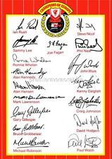 Liverpool Fc 1984 Kenny Dalglish Joe Fagan Ian Rush Hansen Firmado (impreso) X17