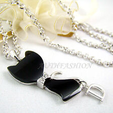 Womens Black ONYX Cat Pendant Necklace Crystal Animal Kitty Silver Plated P63