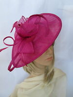 NEW FUSCHIA PINK SINAMAY & FEATHER FASCINATOR HAT.Shaped saucer disc,Wedding.