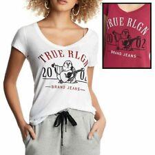 True Religion Women's Crystal Embellished 2002 Buddha Rounded V-Neck Tee T-Shirt